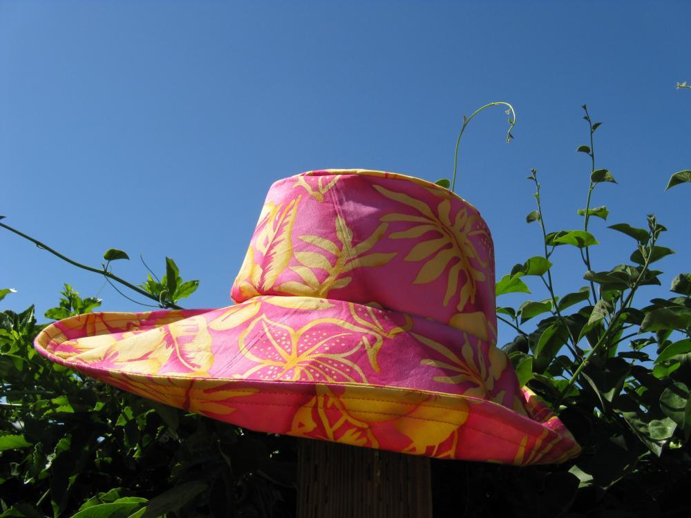 Orange Yellow Flower Print Wide Brim Sun Hat