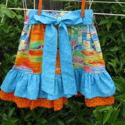 Ruffle Skirt in Blue and Orange Prints Child Size 6