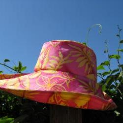 Orange Yellow Flower Print Wide Brim Sun Hat
