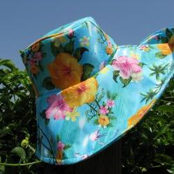 Turquoise Floral Print Wide Brim SunHat Womens
